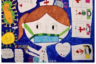 小朋友画画为武汉加油