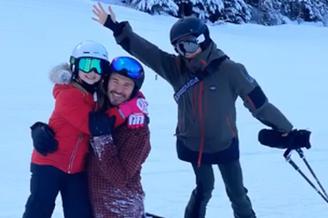 贝克汉姆一家度假滑雪