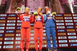 女子50公里竞走颁奖仪式