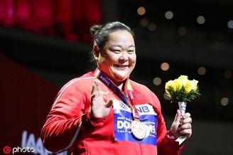 女子链球颁奖仪式王峥获铜牌