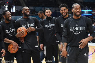 NBA全明星赛前众星热身