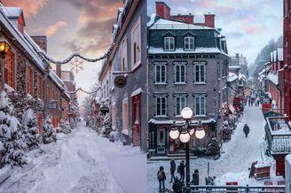 浓郁的冬日气氛 白雪覆盖的浪漫古都