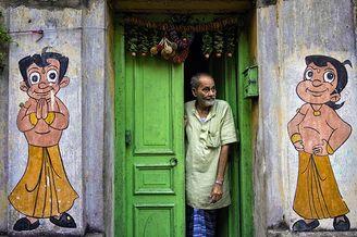 充斥创意的墙绘街景 加尔各答的兴趣街拍