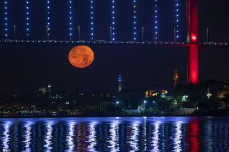 土耳其夜空出现红色满月