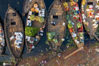 孟加拉国人文纪实,达卡水上市场熙熙攘攘