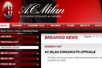 AC米兰官方宣布卡卡离队 一代巨星告别欧洲赛场