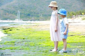 田亮晒森碟和弟弟海边照