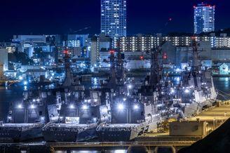 横须贺港一角6艘日本军舰扎堆