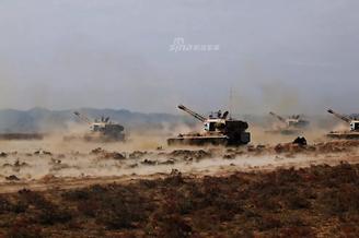 陆军某部多型重炮大漠集体发威
