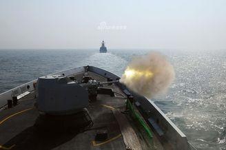 我北海舰队演习日照舰猛烈开火