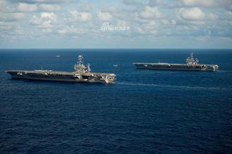 美海軍兩艘航母會師大西洋