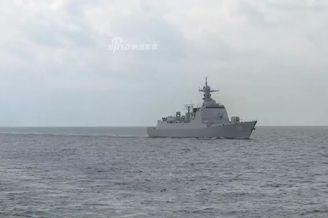 北海舰队黄海演兵052D054A亮剑