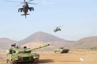 东部战区坦克武直地空协同演练